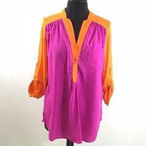 Tops - Pink Colorblock Blouse